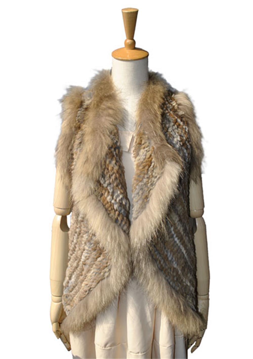 Crochet Real Rabbit Fur Vest With Raccoon Fur Trim