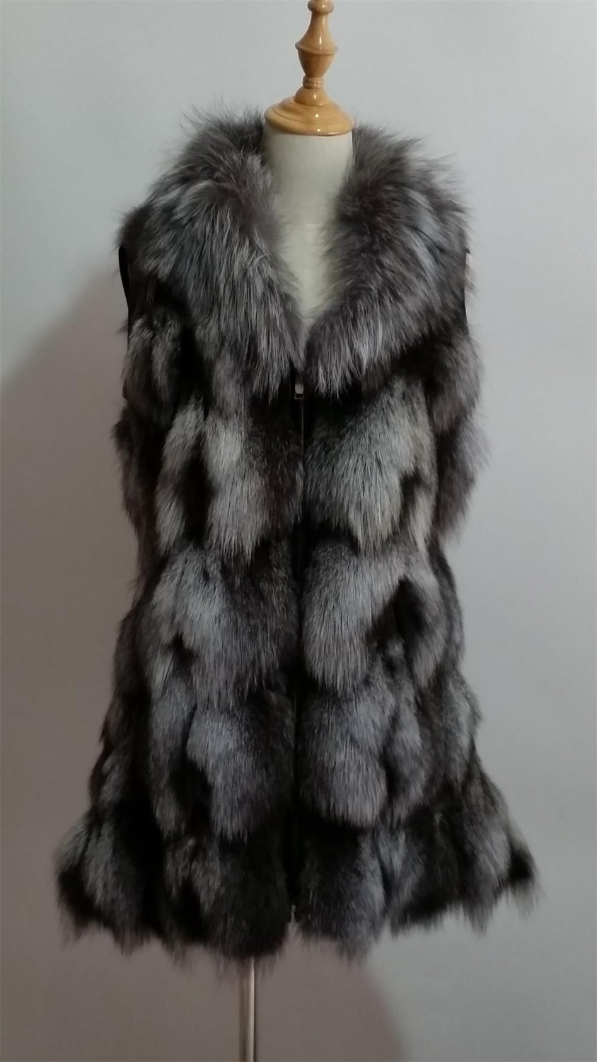 Silver Fox Fur Vest S M Long version