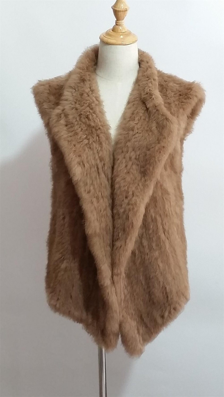 Camel Knit Rabbit Fur Sweater Vest Fur Gilet