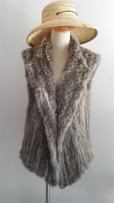 Chinchilla Grey Knit Rabbit Fur Sweater Vest