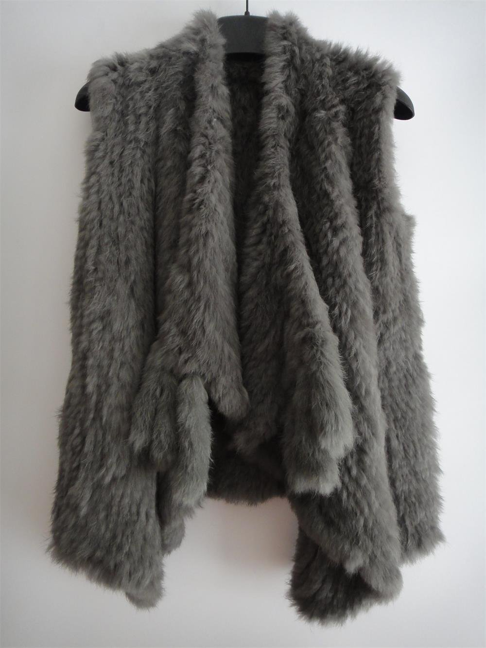 Dark Grey Knit Rabbit Fur Sweater Vest Fur Gilet