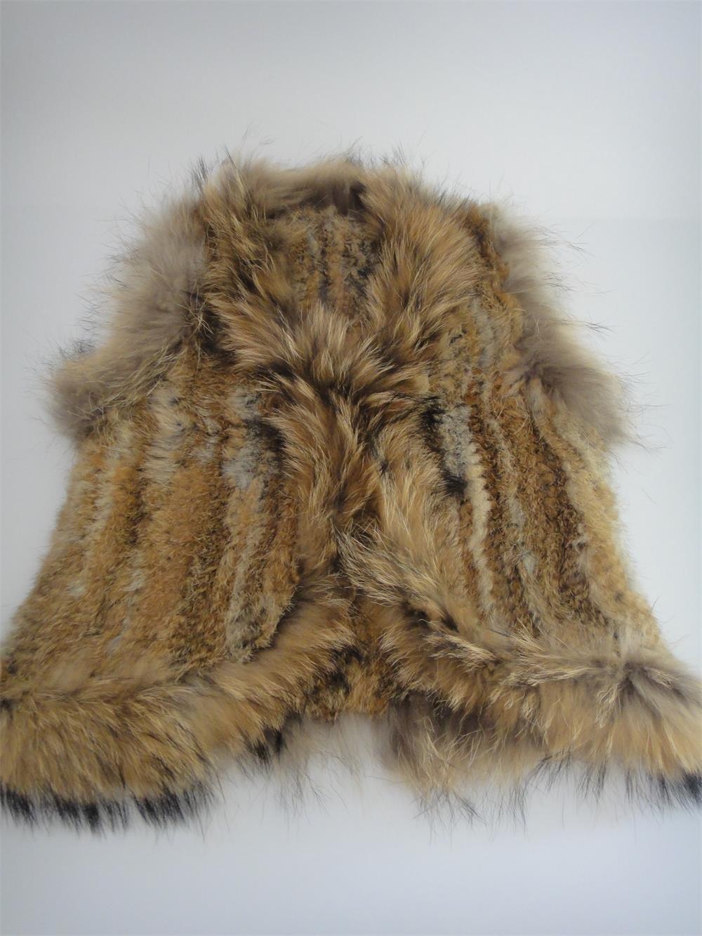 Rabbit Fur Vest With Raccoon Fur Trim Sleeveless