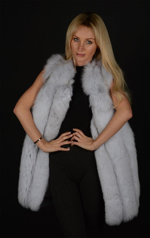 Long Blue Fox Fur Vest Nature White stripes