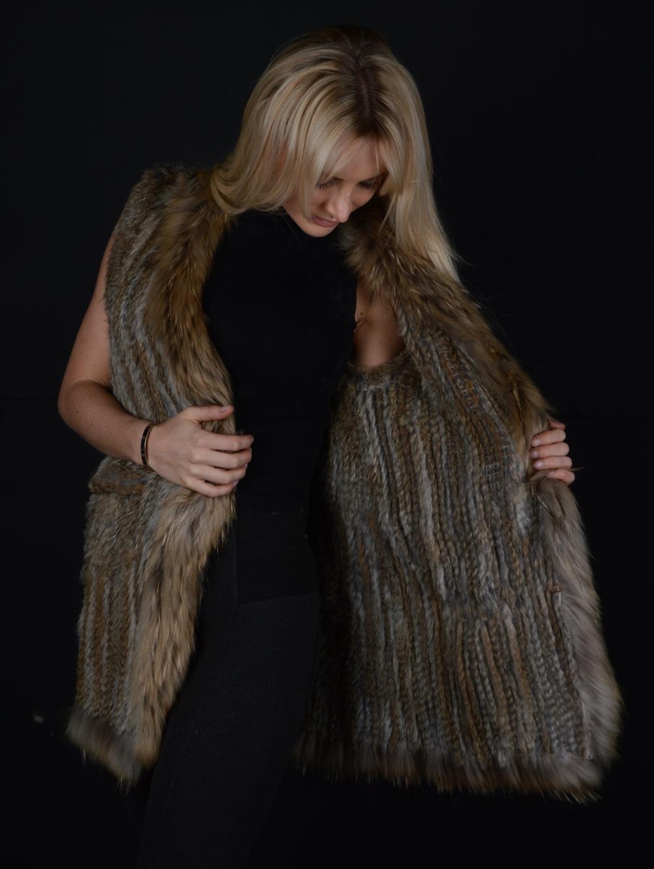 Long Crochet Fur Vest Nature Brown Warmm Gilet