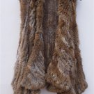 Brown/Black Rabbit Fur Vest Irregular Hem