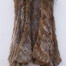 Brown/Black Rabbit Fur Vest Irregular Hem
