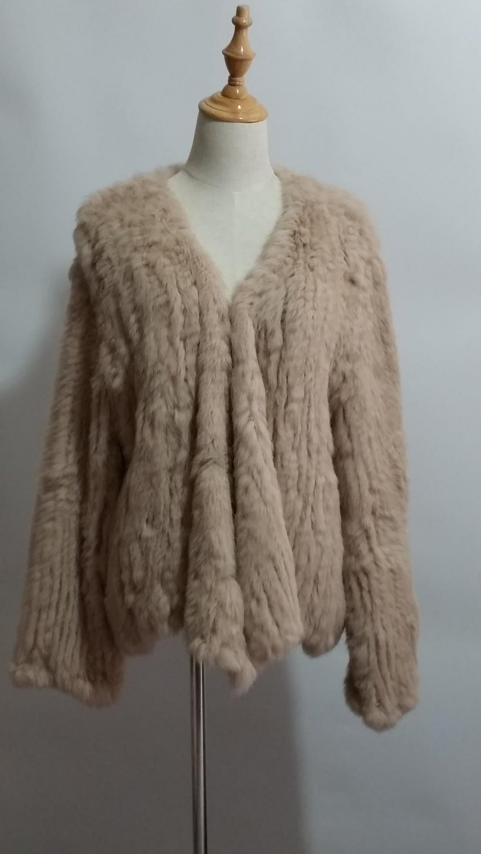 Khaki Knit Rabbit Fur Sweater Jacket Blazer XXL