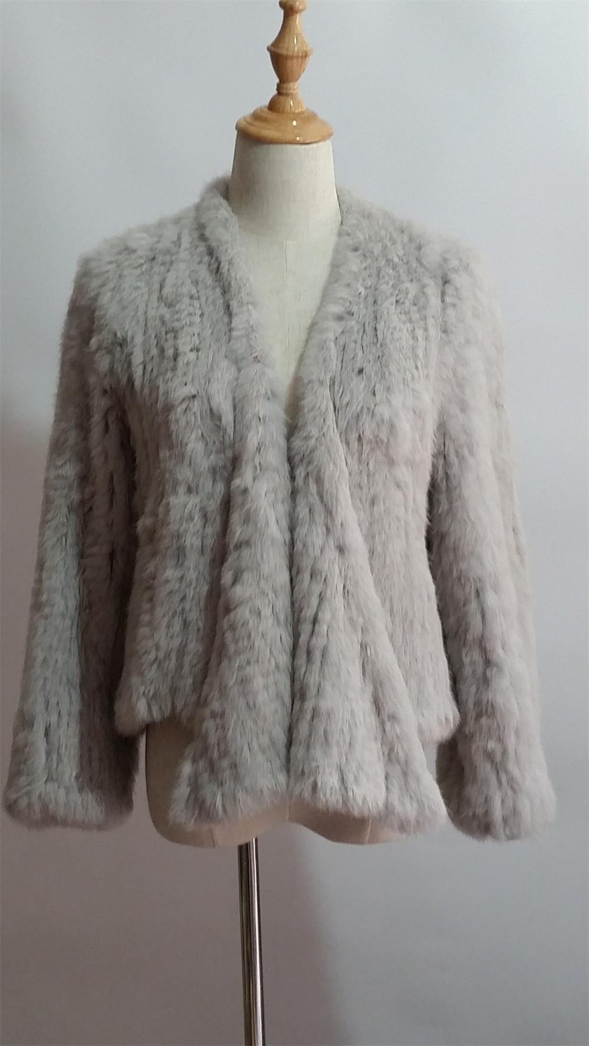 Light Grey Crochet Real Rabbit Fur Jacket sleeves