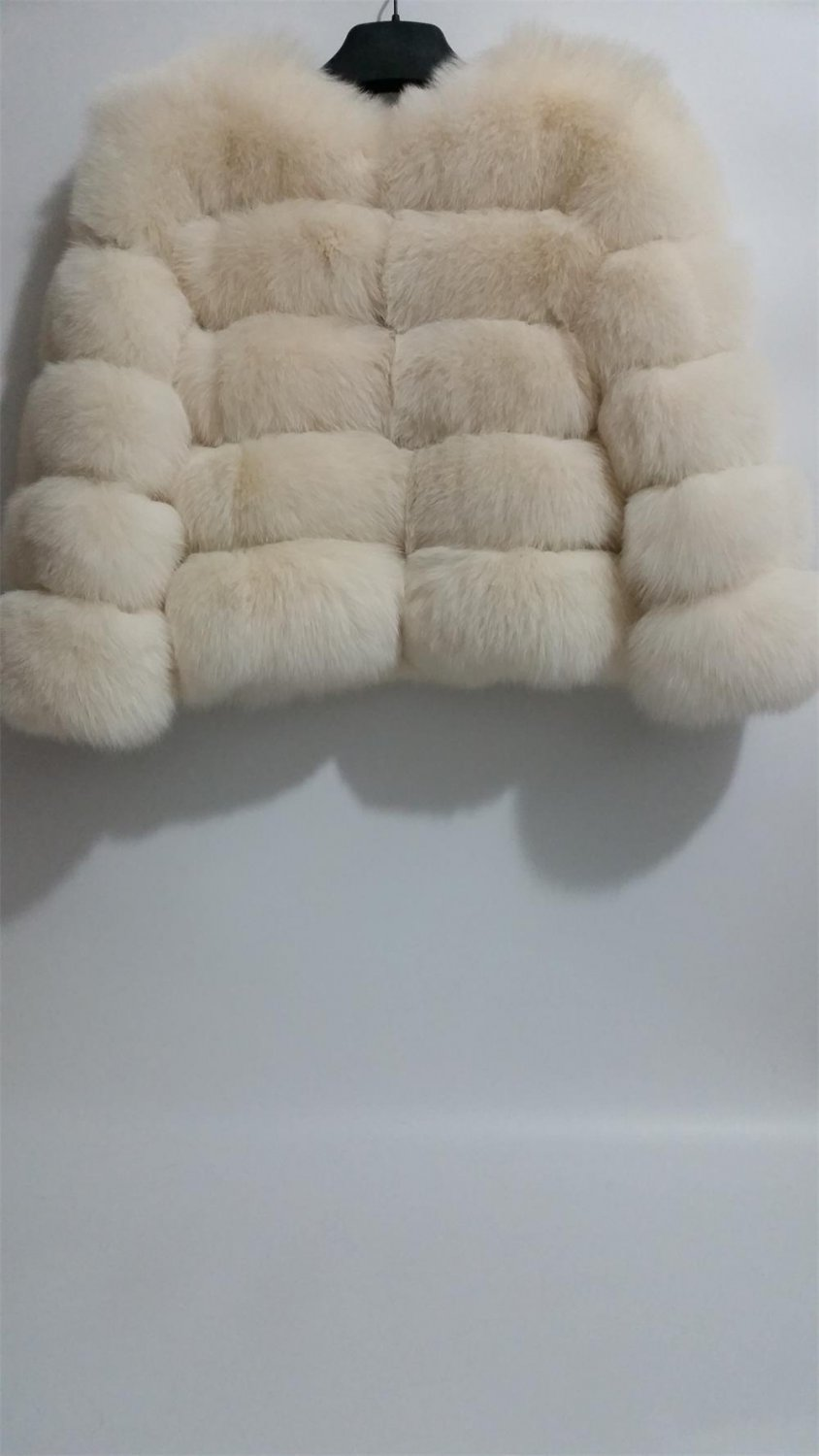 Cream Fox Fur Jacket patchwork leather stripes