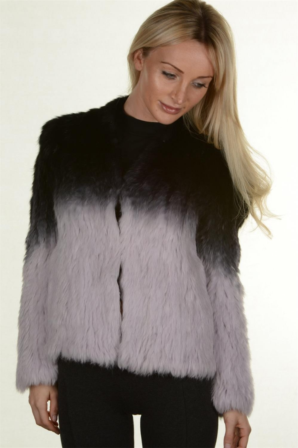 Black/Purple Gradient Knit Real Rabbit Fur Jacket