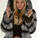 Chinchilla Grey Rex rabbit Fur Jacket Hooded