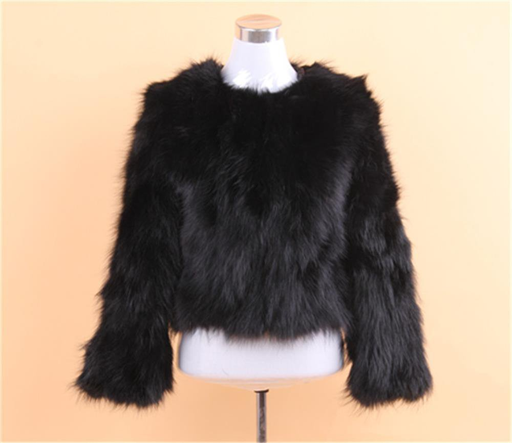 Raccoon fur jacket round collar Black/green