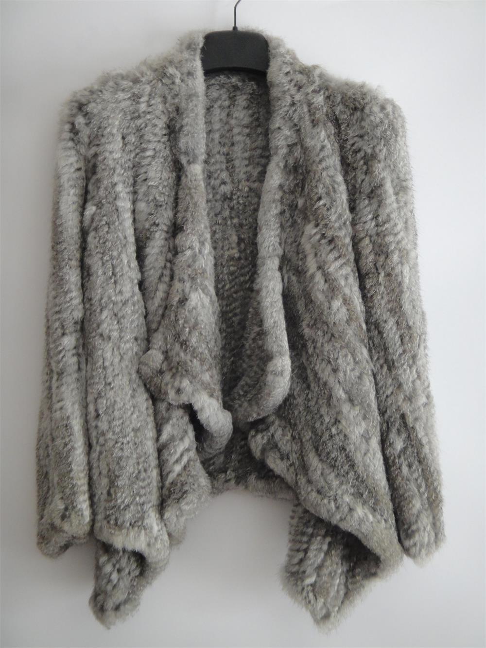 Grey Asymmetrical Real Rabbit Fur Jacket