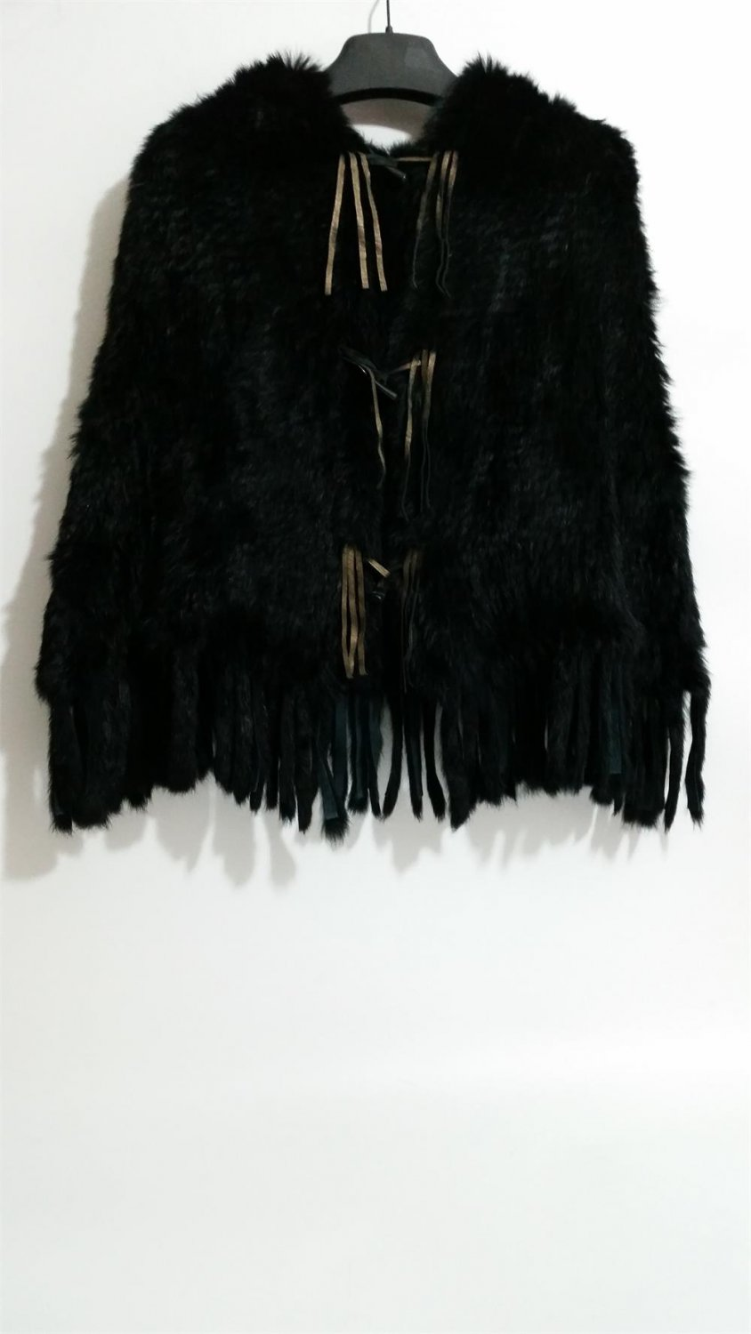 Black Knitted rabbit fur hooded poncho tassels