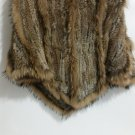 Brown Knitted rabbit fur hooded poncho raccoon fur
