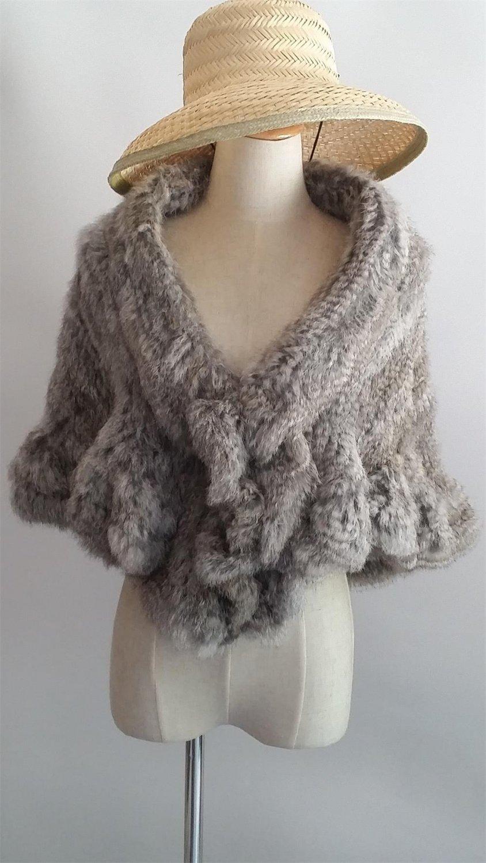 Grey Knitted rabbit fur shawl cape wrap