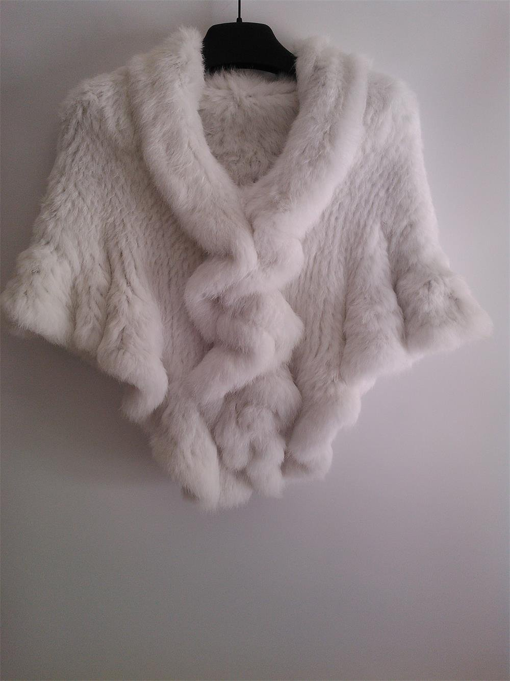 Pure White rabbit fur shawl Wedding cape