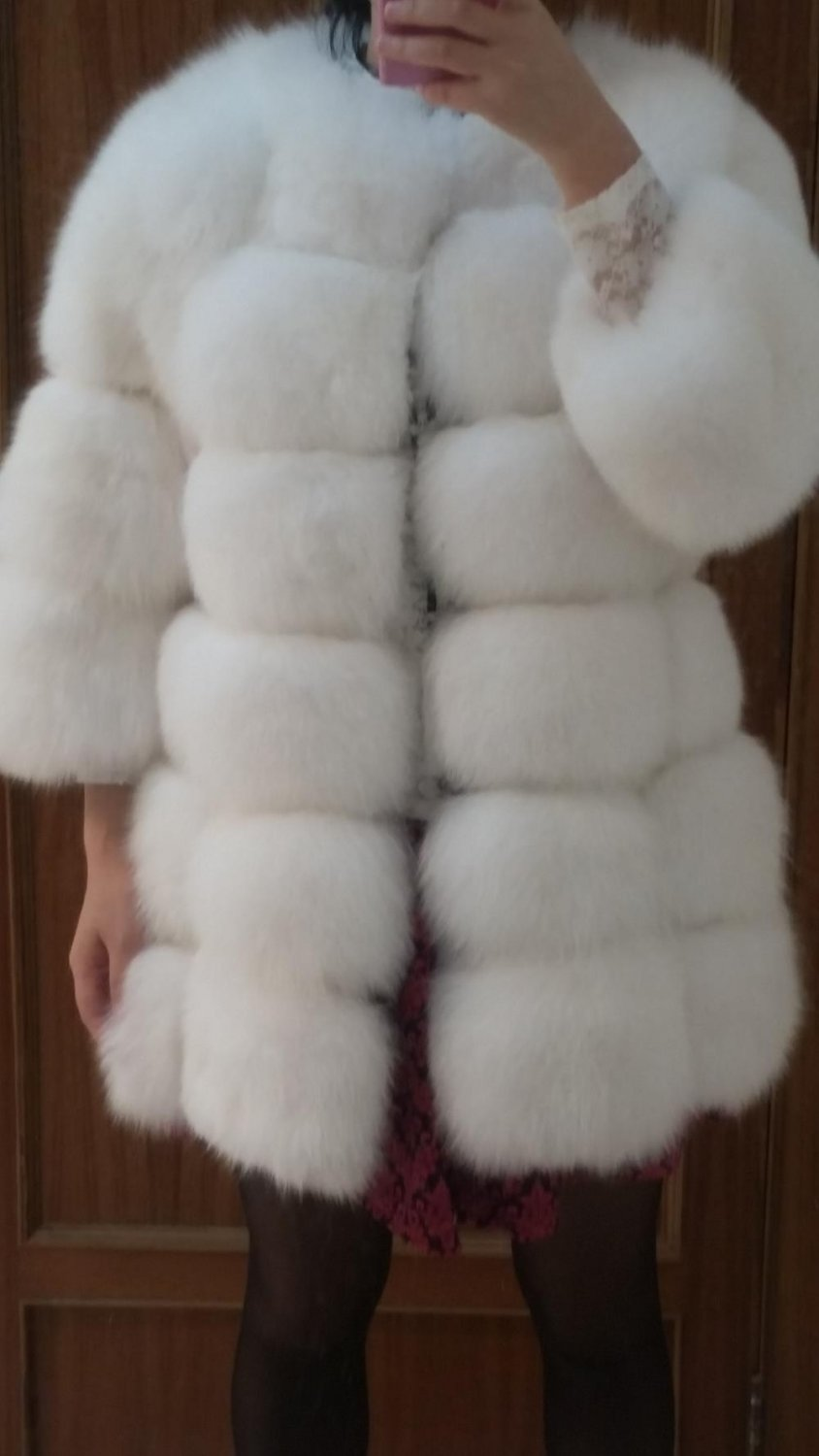 Finland White fox fur coat winter outwear warm