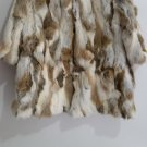 patchwork nature brown rabbit fur coat stand up co