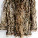 Knitted rabbit fur coat with hood raccoon fur trim