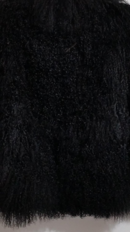 Black long Mongolian fur coat stand up collar