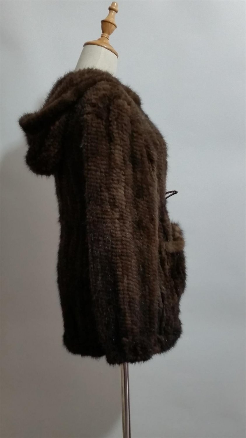 long brown Crochet mink fur hooded coat pom pom