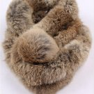 Nature brown rabbit fur scarf with pom pom ball