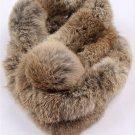 Nature brown rabbit fur scarf with pom pom ball