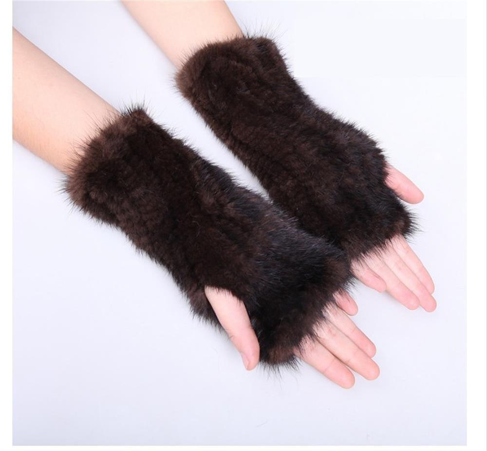 20cm Brown Knitted mink fur hand warmer pattern
