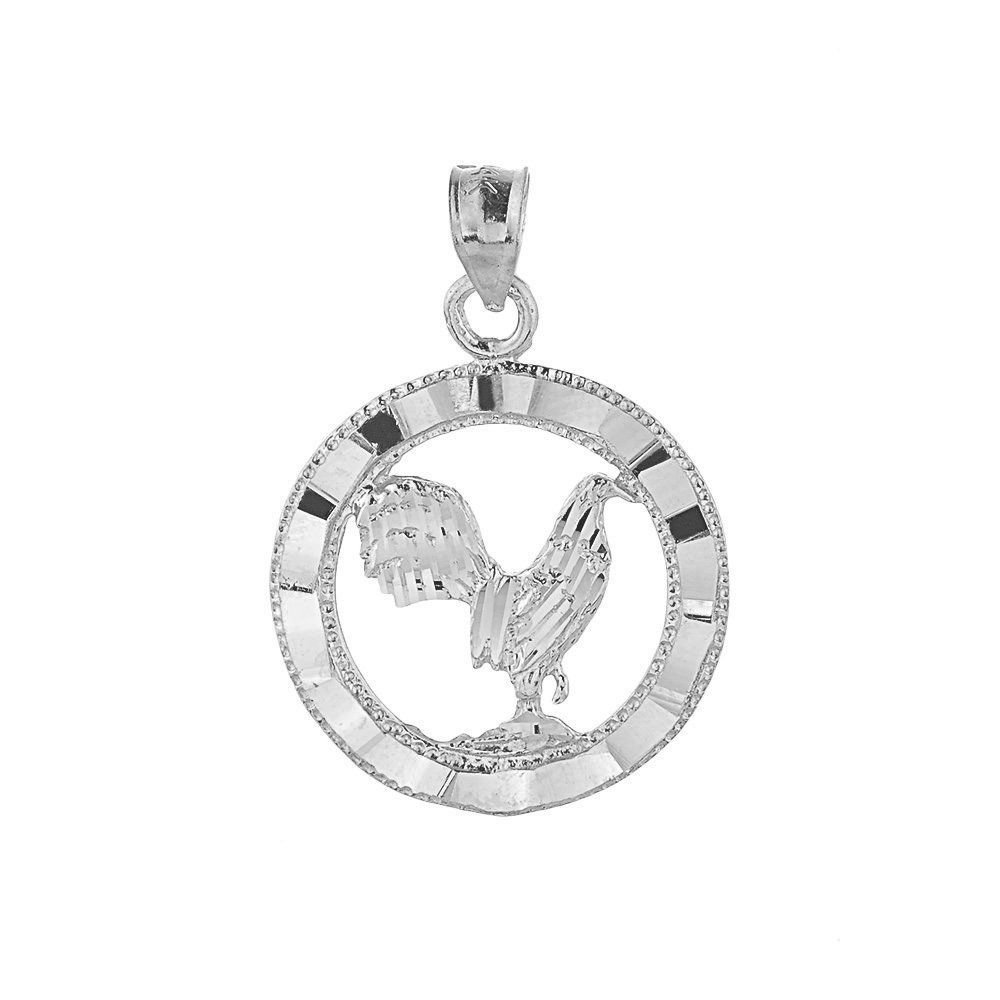 Sterling Silver Rooster Pendant Charm