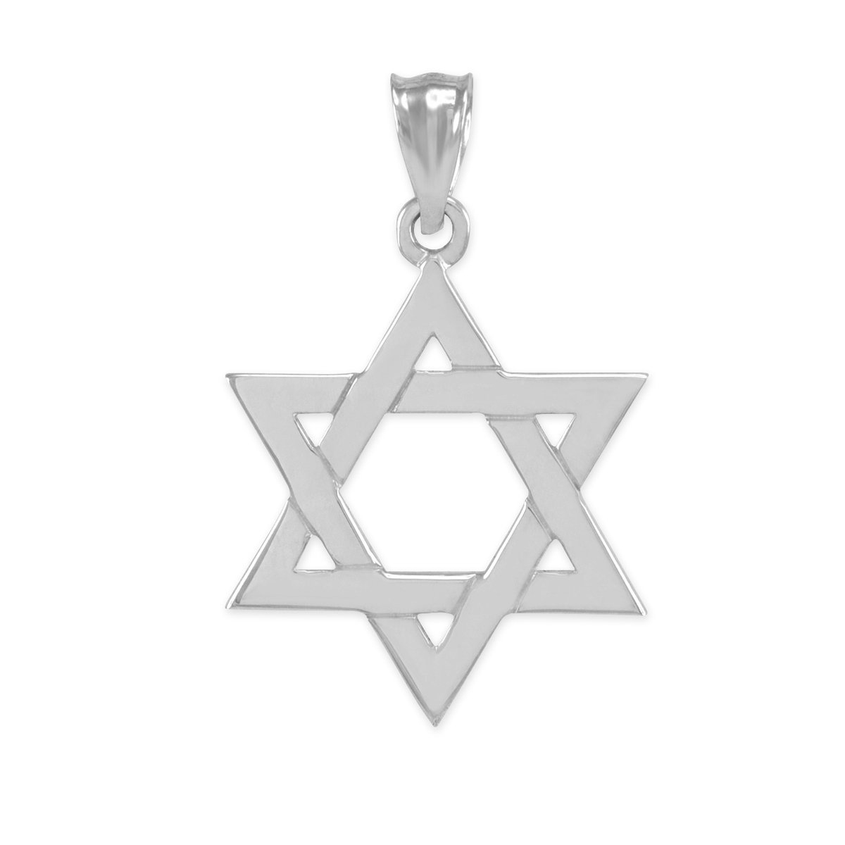 Solid Sterling Silver Jewish Star of David Pendant Necklace