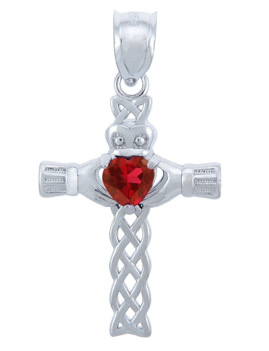 Sterling Silver Celtic Cross Pendant Necklace with CZ Heart