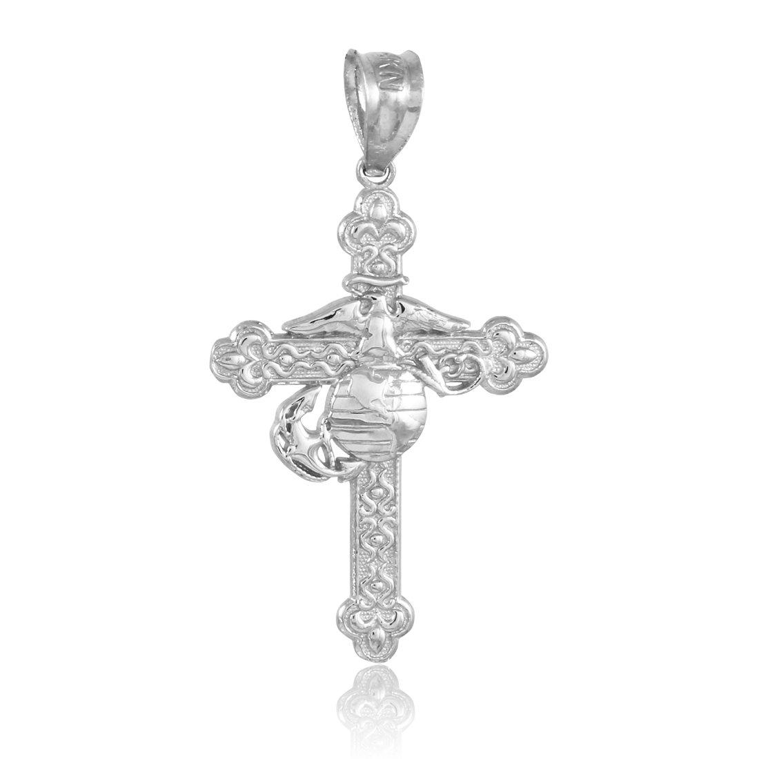 Silver US Marine Christian Cross Charm Pendant Necklace, ocean, boath, sea