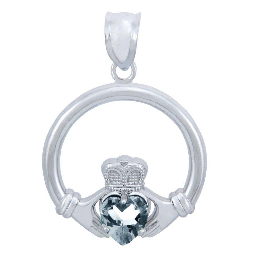 Silver Charm, shiny Clear,CZ stone, Heart Claddagh Pendant necklace,buy, irish