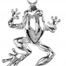 Polished 925 Sterling Silver Frog Pendant Necklace rana de plata, animaljewelry