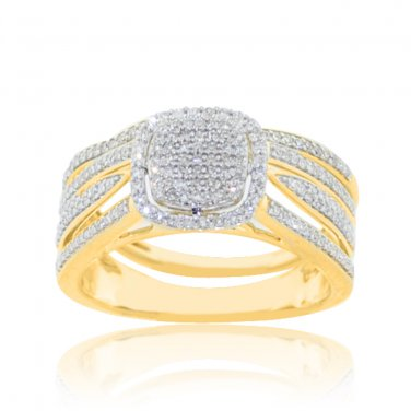 Rare!! Diamond Bridal Wedding Ring Set 0.4CTTW 10K Yellow Gold (ONE TIME OFFER)