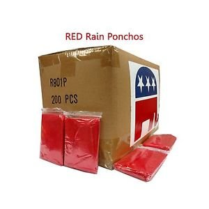 Emergency .02 MM Disposable Rain Poncho Republican Red Case of 200