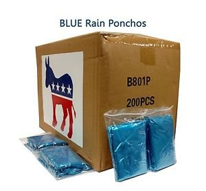 Emergency .02 MM Disposable Rain Poncho Democratic Blue Case of 200