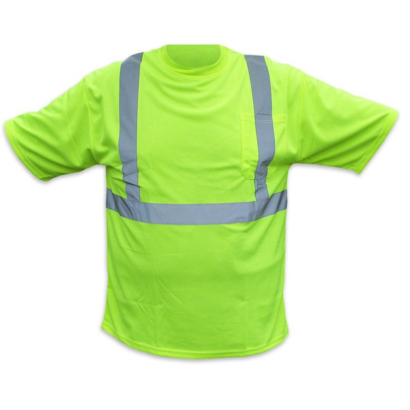 ANSI Class 2 Hi Vis Hydrowicking T-Shirt With Pocket Size Large