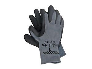ATLAS Fit Black Rubber Coated Palm Glove, Sold by the Dozen, Size Large