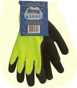 """""""Deep Freeze"""" Winter Lined Hi Viz Knit Glove, Black Palm, Size L, Sold by Dozens"""
