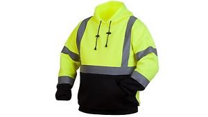 ANSI Class 3 Lime Pullover Hoodie With Black Bottom