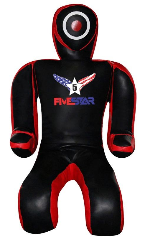 Brazilian Jiu Jitsu Grappling Dummy| Black/Red In Synthetic Leather|Submission style