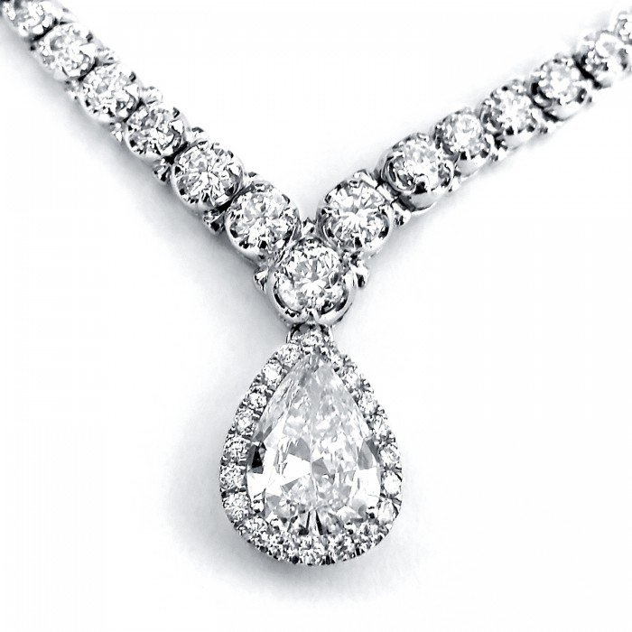 """CERTIFIED PEAR SHAPE DIAMOND ETERNITY TENNIS NECKLACE 10 2/5 CTW IN 18K WHITE GOLD (16"""" CHAIN)"""