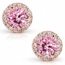 PINK MOISSANITE AND DIAMOND EARRING 2 1/4 CARAT (CTW) IN 14K GOLD