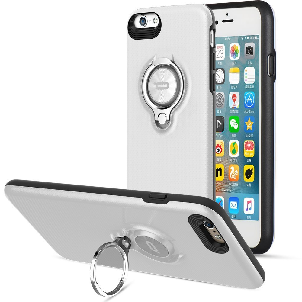 360 Degree Rotating Ring Grip Case for iPhone 6 Plus White