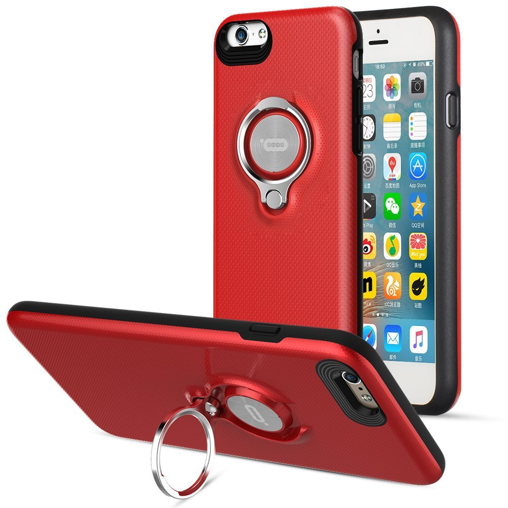 360 Degree Rotating Ring Grip Case for iPhone 6 Plus Red