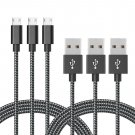 3 Pack 6ft Long Nylon Braided High Speed Charging Cables for Android Samsung