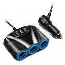 12V/24V 120W 3 Way Car Cigarette Lighter Adapter with 3 USB Car Charger