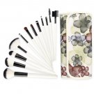 Professional 12 Pcs Makeup Cosmetics Brushes Set Kits with Rose Pattern Case White